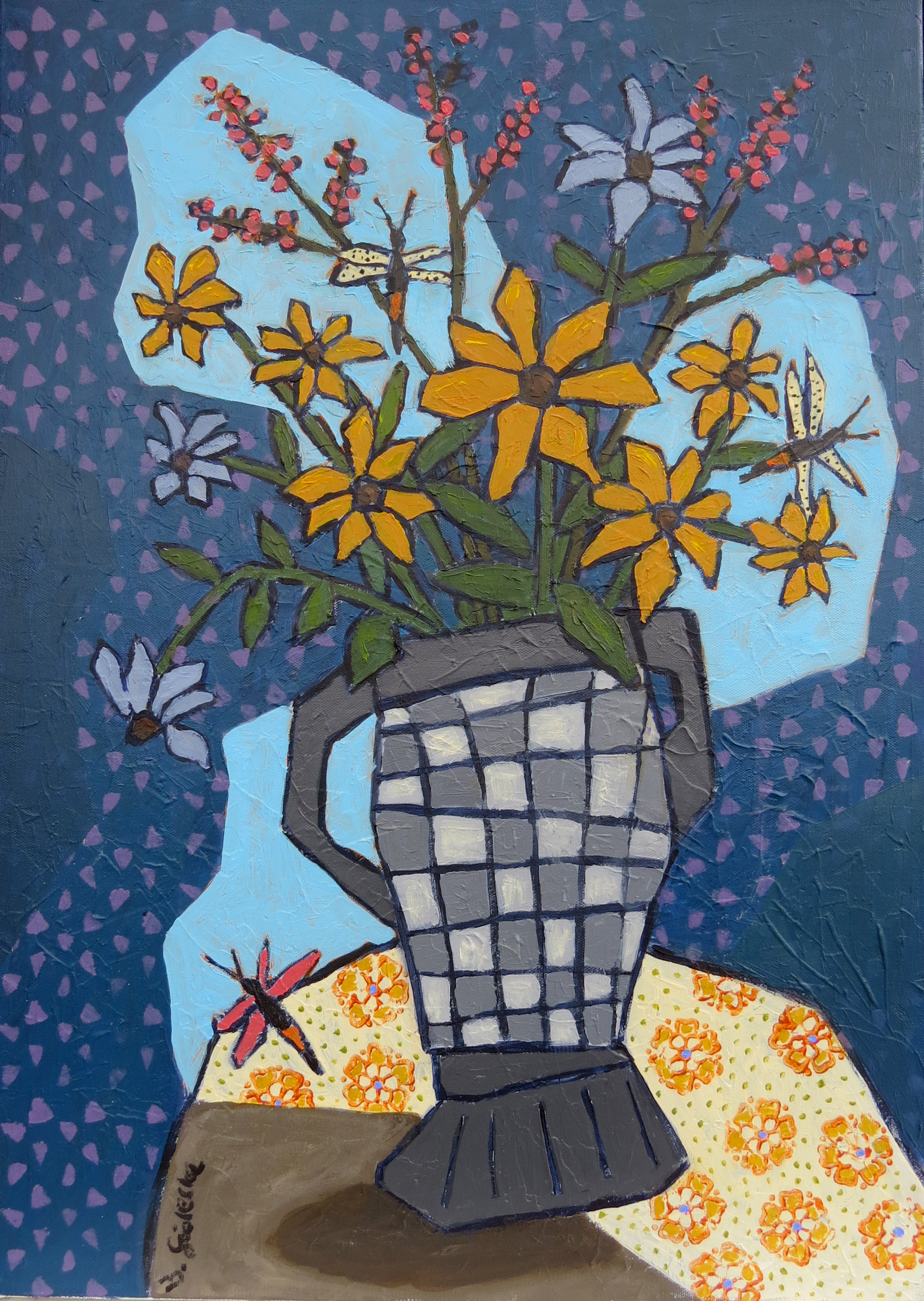 """Vase mit Sonnenhut"" 2019, 70 x 50 cm, Acryl/Öl, Leinwand, gerahmt"